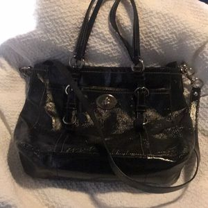 Coach patent leather messenger bag!